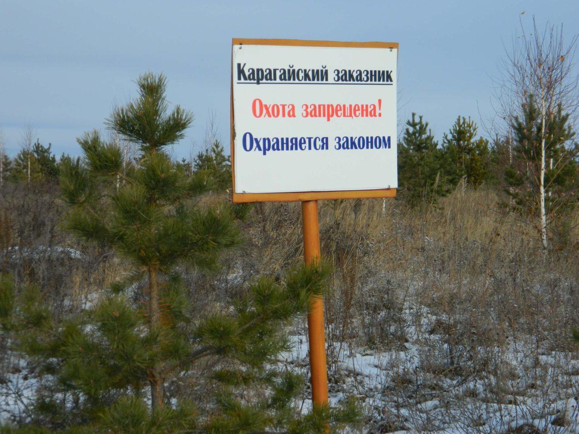 Информационный щит на границе Карагайского заказника
